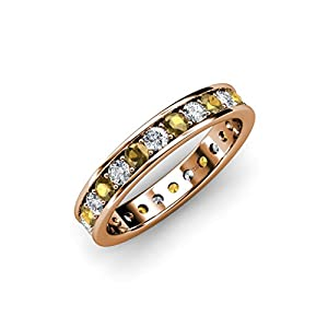Citrine & Diamond Channel with Prong Set Eternity Band 1.25 ct tw to 1.44 ct tw 14K Rose Gold.size 4.5