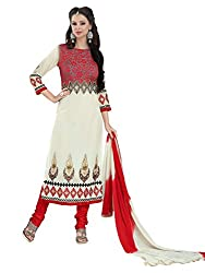 Metroz Women's White Colored Georgette Designer Dress Material with Dupatta