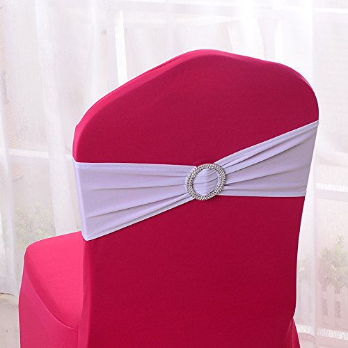 50PCS Stretch Wedding Chair Cover Bands With Buckle Slider Sashes Bow Decorations 22 Colors (White)