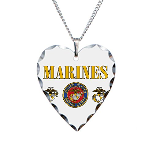 Necklace Heart Charm Marines Us Marine Corps Seal
