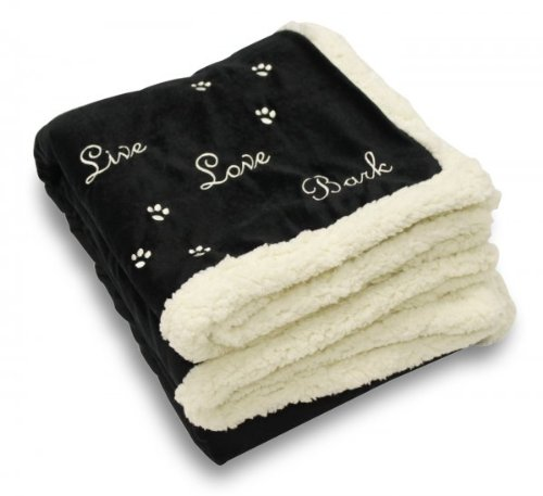"Best Friends By Sheri ""Live Love Bark"" Pet Throw Blanket (Black) (1.00H x 50.00W x 60.00D) - 1"