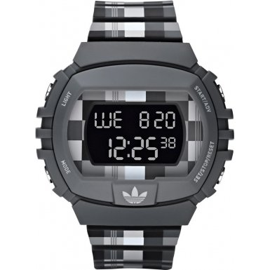 Adidas ADH6103 Mens NYC Black Dial Black and White Rubber Strap Watch