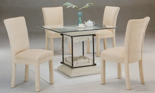 Cheap 5pc Faux Stone Glass Top Dining Table & Taupe Parson Chairs Set (VF_dinset-7065-4550TPE)