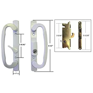 sliding glass patio door handle set with mortise lock white keyed 3 15 16 quot holes