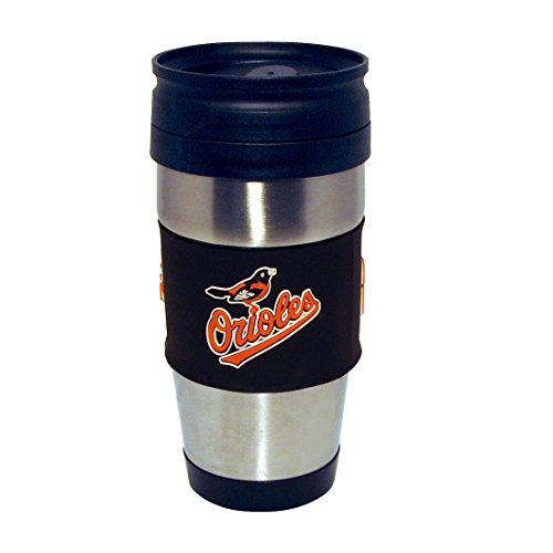 mlb-baltimore-orioles-stainless-steel-travel-tumbler-with-pvc-wrap-15-ounce-team-color-by-hunter-mfg
