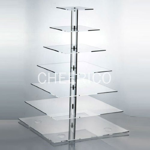 7 Tier Large Square Pole Wedding Acrylic Cupcake Stand Tree Tower Cup Cake Display (Bubble Wrap 100 Square Feet compare prices)