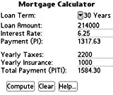 Mortgage Calculator for Palm OS 5