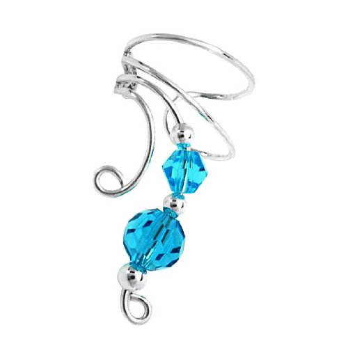 Sterling Silver Left Only Two Blue Crystal Beads Wave Ear Cuff Wrap