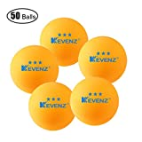 KEVENZ 3-Star Table Tennis Balls, (50-Pack,Orang,K1)