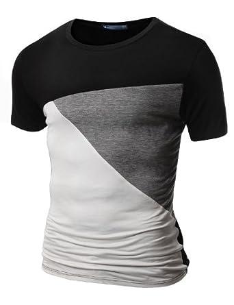Doublju Mens Short Sleeve T-shirts with Contrast Color BLACK (US-S)