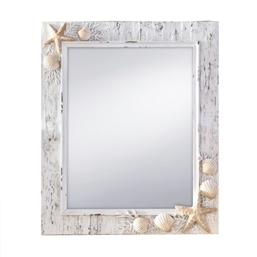 Prinz Sand Piper Mirror with Resin Border and Seashells and Starfish Accents