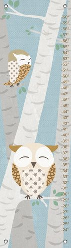 "Oopsy Daisy Birchwood Owl Growth Chart, Blue, 12"" x 42"""