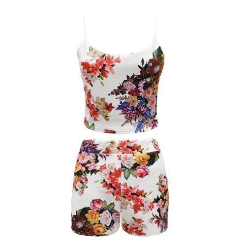 Envy Boutique Womens Ladies Two Piece Floral Tropical Print Crop Top Hot Pants Shorts Summer Tropical Print Ml