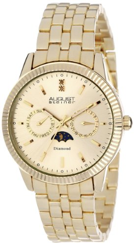 August Steiner Men's Swiss Quartz Watch with Gold Dial Analogue Display and Gold Alloy Bracelet AS8050YG