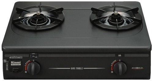リンナイ ガステーブル グリルなし・コンパクト幅56cm(プロパンガス用)左ハイカロリーバーナー ブラック KGE-20FTS(BK)L-LP