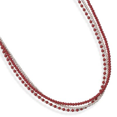 16 Inch+2 Inch Triple Strand Sterling Silver and Coral Necklace