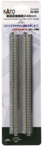 "N 9-3/4"" Double Track Straight, Concrete Ties (2)"