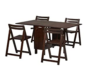 Space Saver Dining Set with Table and 4 Chairs