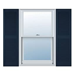 12 in. Vinyl Louvered Shutters in Midnight Blue - Set of 2 (12 in. W x 1 in. D x 67 in. H (6.5 lbs.))