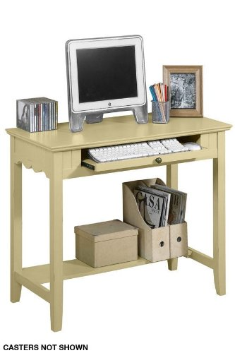 "F Cntry Computer Desk W/caster 36""w Antique Cream"