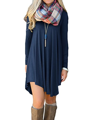 Shirt Long Loose Dress Sleeve Womens Flowy Dress Loose(Navy Blue,Large)