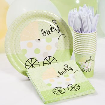 Green Baby Shower Plate, Cup and Napkins Set - Neutral Color - Baby Buggy Design