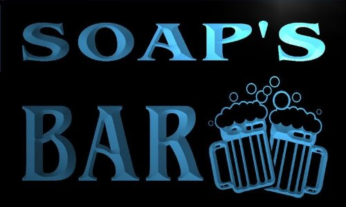 w075658-b-soap-name-home-bar-pub-beer-mugs-cheers-neon-light-sign