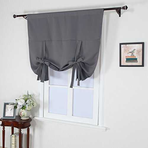 NICETOWN Thermal Insulated Grey Blackout Curtain - Tie Up Shade for ...