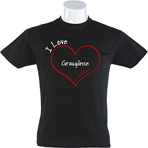 T-Shirt Modern I Love Graugänse schwarz Herren Gr. S bis 5XL, Größe:XXL
