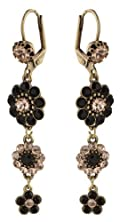 Victorian Style Michal Negrin Fabulous Dangle Earrings Decorated with Flower Accents, Black and Peach Swarovski Crystals