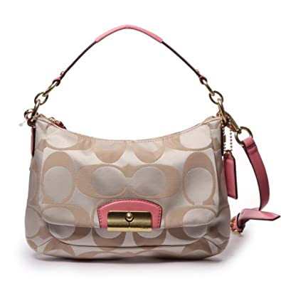 Coach Kristin Signature East-west Crossbody Khaki and Pink Rose 22302