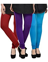 Kjaggs Women's Cotton Lycra Regular Fit Leggings Combo - Pack Of 3 (KTL-TP-6-7-9, Purple, Maroon, Sky Blue)