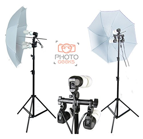 Shoot Through Photography Continuous Umbrella Lighting Studio Kit - 1350w