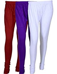 Cotton Leggings (Culture The Dignity Women's Cotton Leggings Combo Of 3_CTDCL_MVW_MAROON-VIOLET-WHITE_FREESIZE)