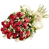 Little India Fresh Natural Pink Roses Flower For Love (Bunch Of 12)