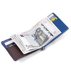 TROIKA GERMANY(トロイカ) BLUE CANYON ICパスケース付カードケース&マネークリップウォレット ブルーキャニオン ブルー/ブラウン MYC28/BB