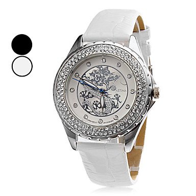 Unisex Silver Dragon Style PU Analog Quartz Wrist Watch (Assorted Colors),White