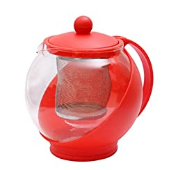Fu Global Best Value Economic Tea Maker with Removable Infuser, Safe Glass Pot Body, Plastic Handle, Easy To Clean (RED)
