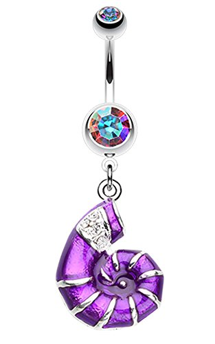Vibrant Nautilus Seashell Belly Button Ring - 14 GA (1.6mm) - Aurora Borealis/Purple - Sold Individually