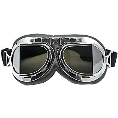 Eforstore Motorcycle Googles Raf Aviator Vintage Pilot Biker Cruiser Pilot Flying Goggles Motocross Cruisers Windproof Sun UV Wind Eye Protect Helmet Mask Eyewear Sports Protective Safety Glasses
