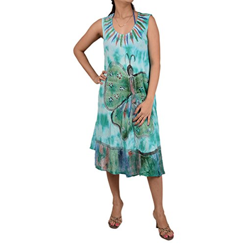 Skirts & Scarves Rayon Butterfly Caftan Tie N Dye Embroidered Sleeveless Dress For Women (Light Green)
