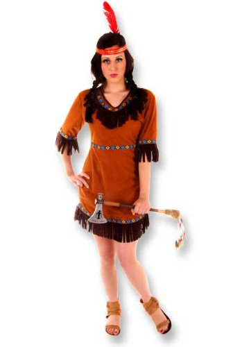 Adult Ladies Sexy Native American, Red Indian Squaw Lady Fancy Dress. One Size Pocahontas style Costume But Usually Fits Sizes 8, 10, 12 And 14. Perfect for any Movie or Cowboys and Indians Themed Fancy Dress Event.
