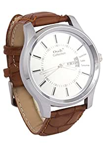 Addic Oudi White Dial With Date Panel And Crocodile Skin Pattern Strap Analog Watch For Men