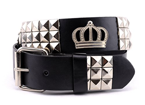 NYfashion101 Royal Crown & Pyramid Studded Faux Leather Roller Buckle Belt L