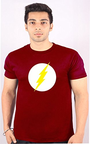 Flash Enquotism Red Combed Cotton Fabric Round Neck Men Tshirt Flash Gordon Logo Red (Multicolor)