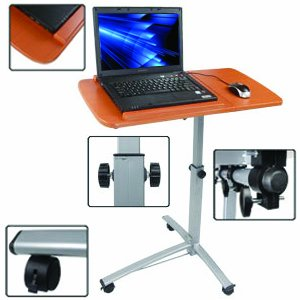 Adjustable New Angle & Height Rolling Laptop Desk Over Bed Hospital Table Stand front-261456