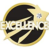 Excellence Lapel Pin - Gem Embellished Black and Gold Achievement Pins 10 Pack Prime