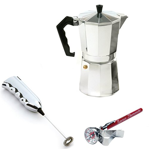 Stovetop Espresso Maker With Cordless Milk Frother and Thermometer