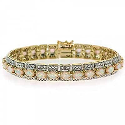 18K Gold over Sterling Silver Created Opal & Diamond Accent Vintage Bracelet