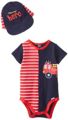Gerber Baby-Boys Newborn 2 Piece Set Creeper With Hat, Hero, 3-6 Months front-11064